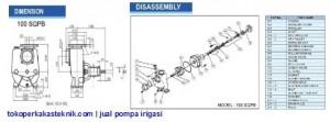 Dimensi & Sparepart Pompa Irigasi Ebara 100SQPB