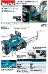 Spec Makita Chain saw DUC252CRM2