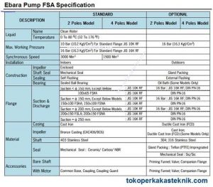 Ebara Pump FSA Specification
