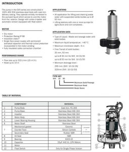 Data Submersible Pump SVX